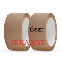 Taśma pakowa 48x66y brąz solvent - 6szt